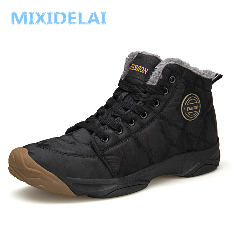 Men Waterproof Ankle Boots Winter Warm Plush Snow Boots Men Outdoor sneaker Work Boots Male Rubber W