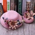Lo nuevo de Corea Ropa de Color Rosa Flor de La Boda Sombrero Fascinator Pinza de Pelo de Headwear Para La Novia Tela Floral Partido de Las Señoras Tocado Horquilla