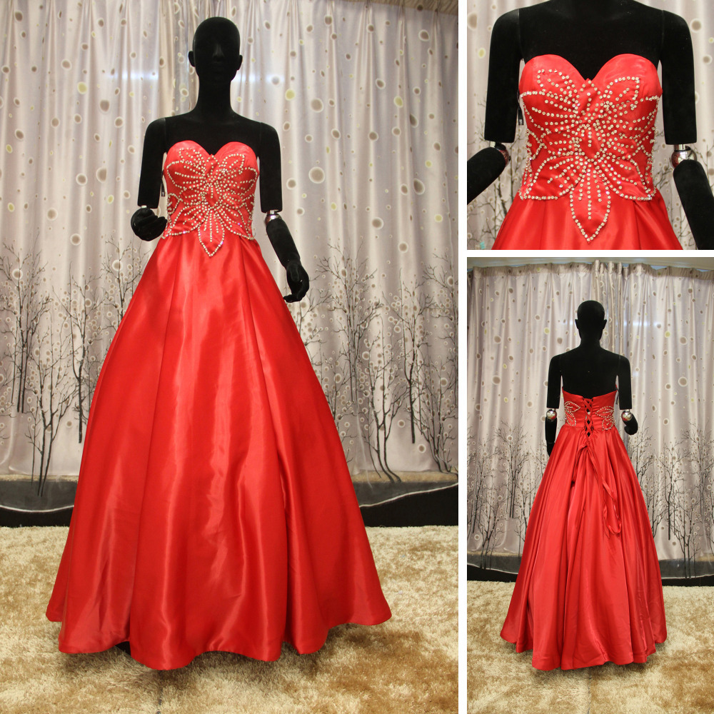 Wedding Ball Gowns Sweetheart Neckline: WR046 Sweetheart Neckline Puffy Red Ball Gown Red And