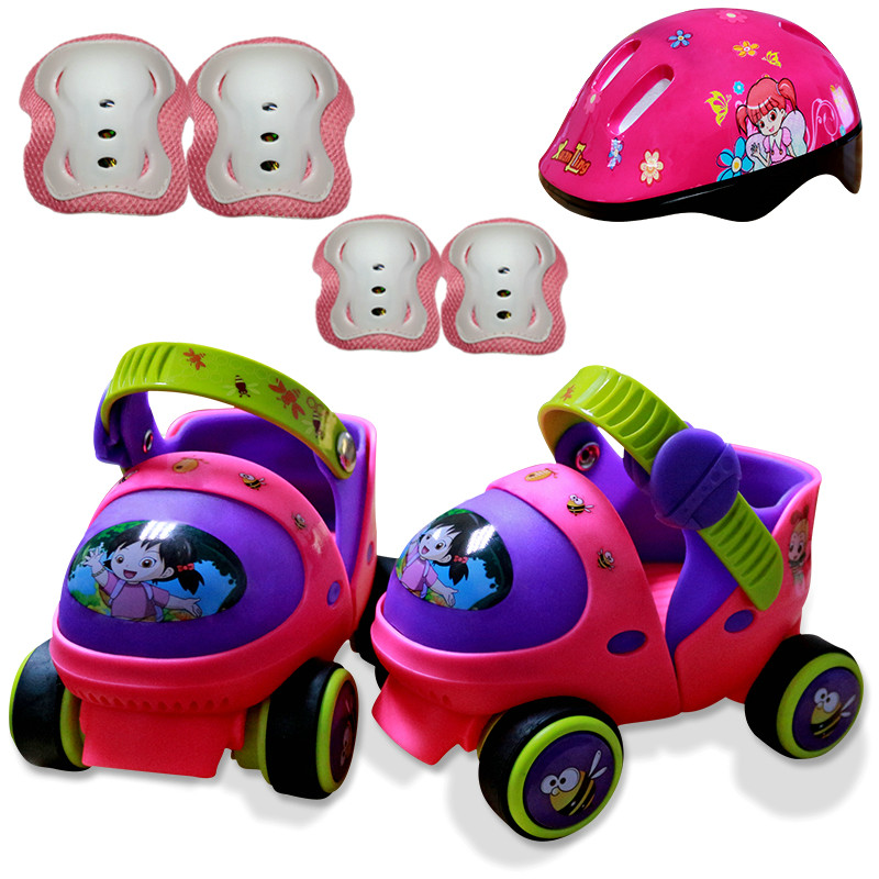 Entry Level Baby Two Line Roller Skates Double Row 4 Wheel Skate Shoes New Cartoon Cute Patines En Linea Free Size For Beginner