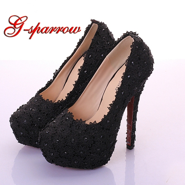 48c7c50fbb3 Black Lace Flower Girl Birthday Party Shoes Lady Farewell Ceremony High  Heels Pink Red Color 14cm