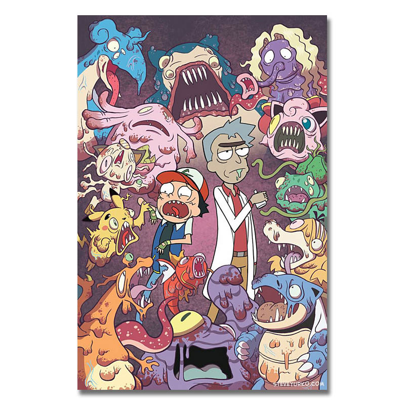 Pokemon Xy Rick And Morty Art Silk Poster Or Canvas Poster