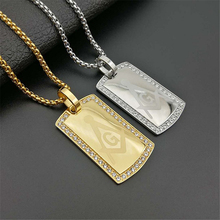 Mens Masonic Dog Tag Pendant Necklace with CZ Men Jewelry Stainless Steel Freemason Gold Tone Hip Hop Accessories