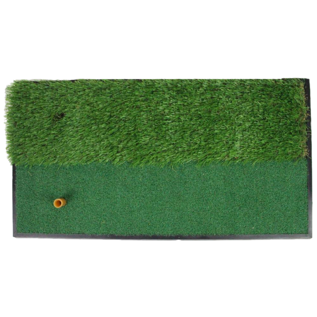 Perfeclan 2 in 1 Golf Practice Mat Nylon Grass Hitting Swing Putting Green Pad  62x33cm with Tee Hole