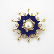 2017 free shipping fashion ladies new jewelry elegant blue enamel alloy high-end brooch girls accessories wholesale