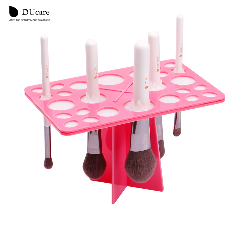 DUcare 1 Set Makeup Brushes Stand Acrylic Dry Brushes Pemegang pink dan hitam dapat memilih alat make up