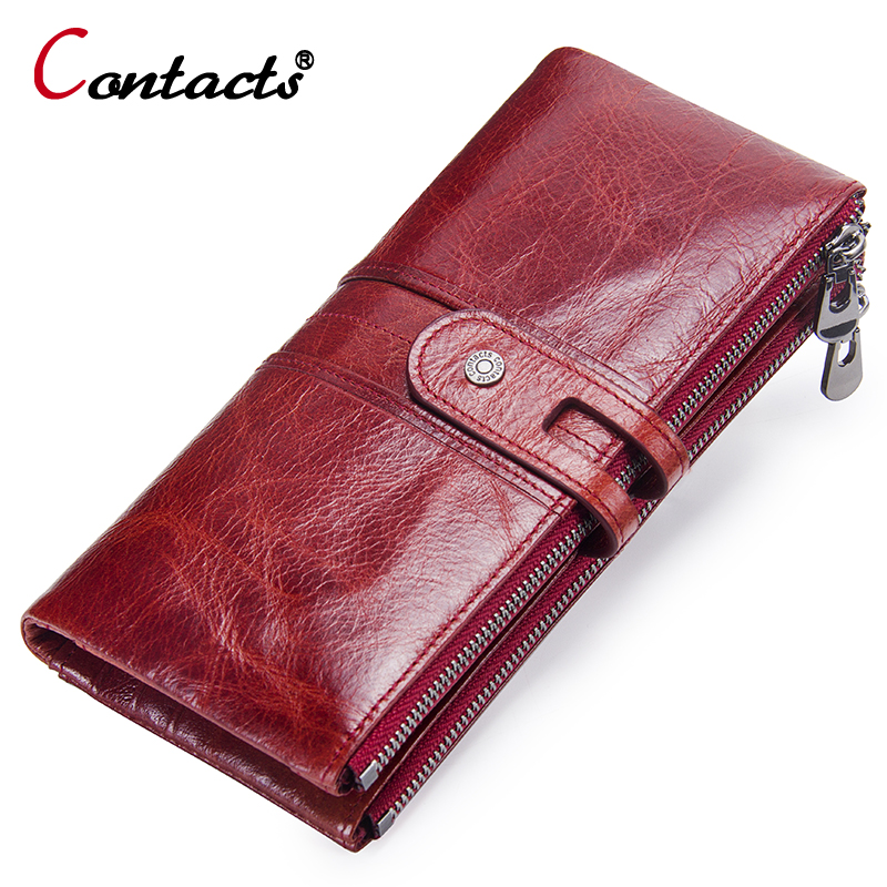 CONTACT'S Women Wallets Genuine Leather Wallet Female Coin Purse Women Wallet Long Clutch Coin Card Holder Phone Money Red Green brand 3 fold genuine leather women wallets coin pocket female clutch travel wallet portefeuille femme cuir red purse card holder