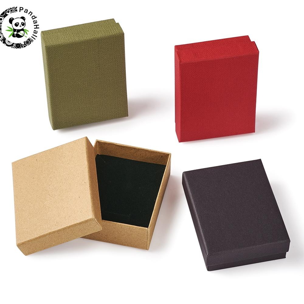 12 pçs papelão conjunto de jóias caixa de presente anel colar pulseiras brinco presente caixas de embalagem com esponja dentro retângulo