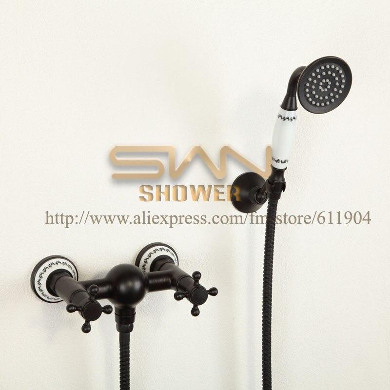 Oil Rubbed Bronze ORB Black Bathroom Wall Mount Bath Faucet Mixer Tap Artistic Ceramic Hand Shower Head Set 110A002A