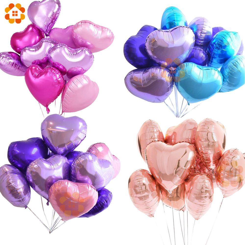18inch 10pcs Baby Shower Party Foil Balloon Pink&Blue Heart Shaped ...