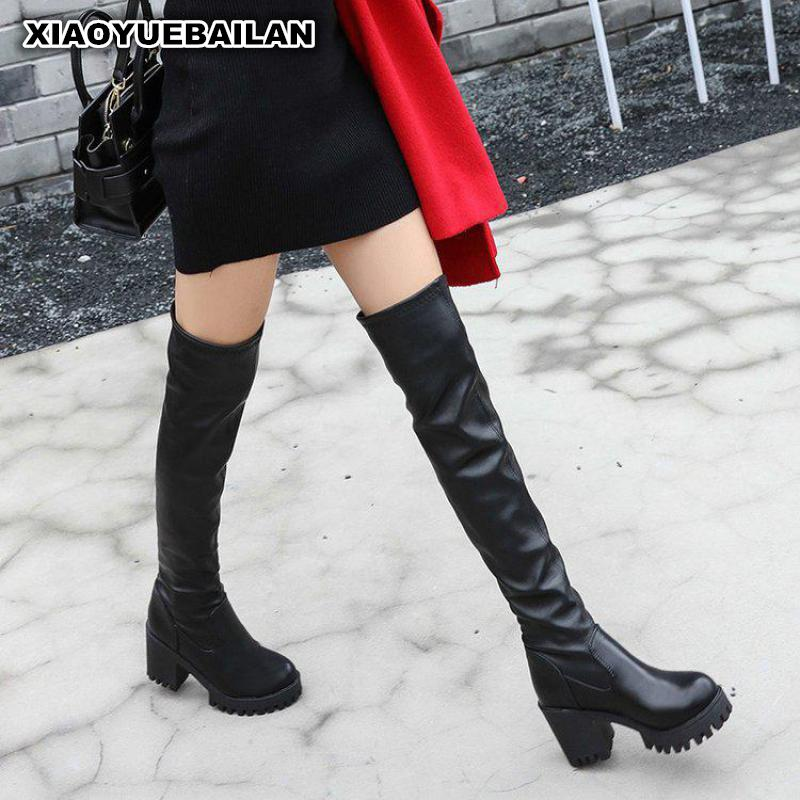 2017 New Winter Boots All-match Thick Warm Female High-heeled Shoes Knee Waterproof Taiwan Tide the explosion of the classic all match solid colored body hip high elastic denim pants feet female winter bag mail
