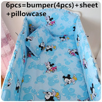 Discount! 6pcs Crib Baby Bedding Set for Girl Boy Newborn Baby Bed Set,include(bumper+sheet+pillowcase)