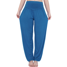 High Waist Stretch Yoga Pants Flare Wide Leg Bloomers Sky Blue M