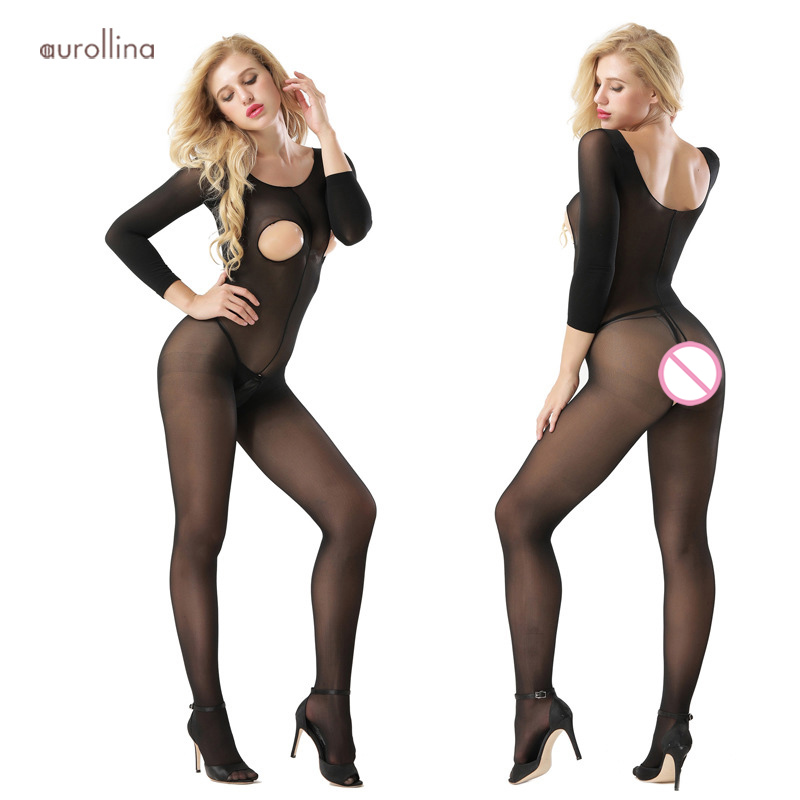 Breastless Crotchless Bodystocking Long Sleeve Bodysuit Lingerie Sexy Catsuit Women