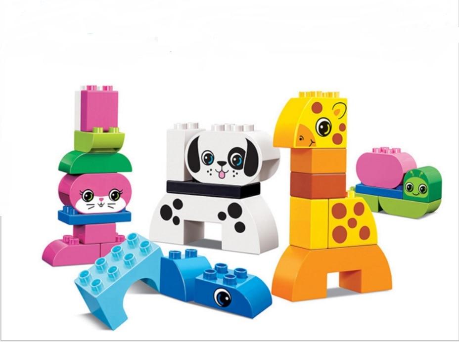 цена на Large Size bricks CHINA brand  Building Blocks Classic Baby Toy Compatible with lego duplo Creative Play 10573 Creative Animals