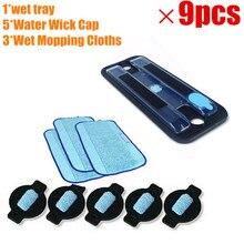 1 * Original bandeja + 3 * Wet wet Pro Clean Limpar Pano + 5 * o Pavio de Água Cap para iRobot Braava 380 380 t 5200 Mint5200C 4200A 4205