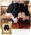 2016 nuevas mujeres sweet tutu falda mori japanese girl lace patchwork vestido de bola del bordado del color sólido irregular falda de malla