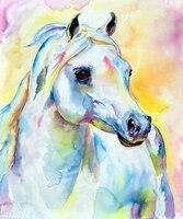 Dream Kleuren Verlegen Paard Olieverfschilderij 100% Handgeschilderde Abstract Paard Portret Merrie Olieverfschilderij Voor Wanddecoratie