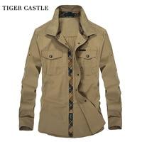النمر القلعة العسكرية قمصان رجالي 100% ٪ طويلة الأكمام قميص ذكر الاجتماعية 3xl زائد حجم الأزياء جيش الرجال البلوزات