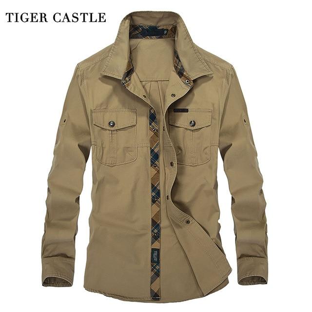Замок тигра Военная Униформа мужская одежда Рубашки для мальчиков из 100% хлопка с длинными рукавами мужской социальной рубашка 3XL плюс Размеры мода армии Для мужчин Блузки для малышек