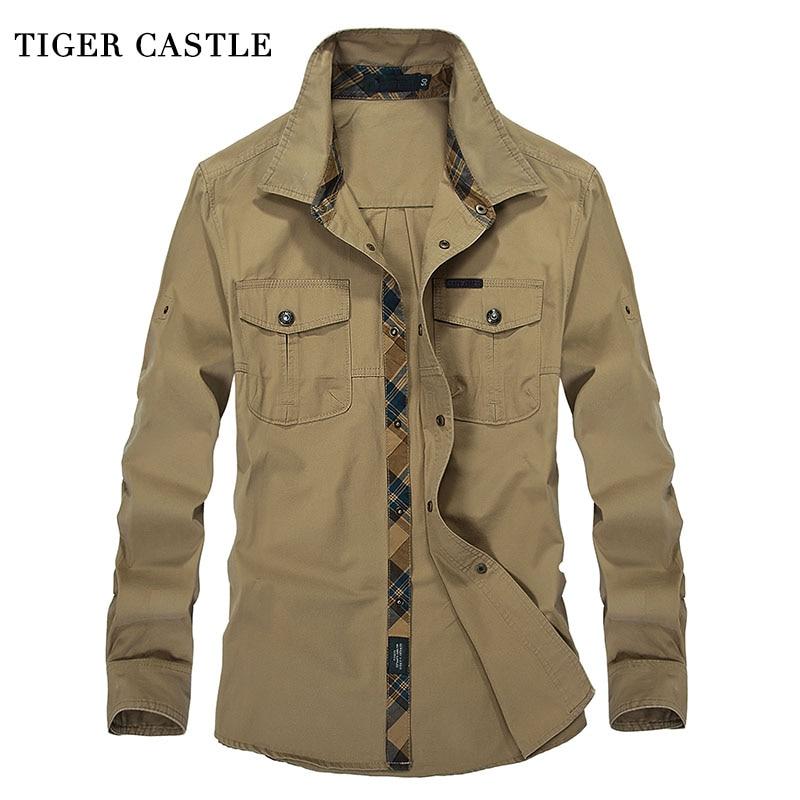 Tiger Castle Military Mens Dress Shirts 100 Cotton Long