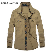 TIGER CASTLE Military Mens Dress Shirts 100 COTTON Long Sleeve Male Social Shirt 3XL Plus Size