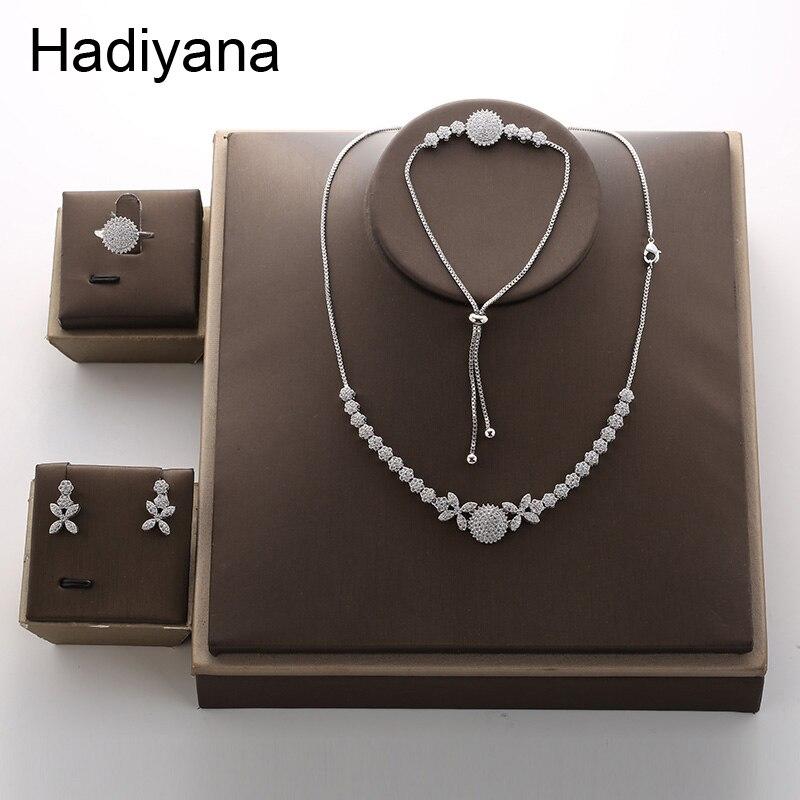 Hadiyana Luxury Bridal Engagement Jewelry Set Of Four Personality Necklace Earrings Ring Bracelet Set Round Jewelry Sets TZ8081Hadiyana Luxury Bridal Engagement Jewelry Set Of Four Personality Necklace Earrings Ring Bracelet Set Round Jewelry Sets TZ8081