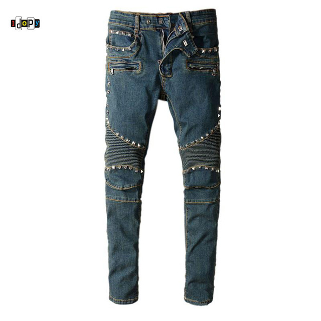 Idopy Men S Biker Jeans Rivet Studded Straight Fit Motorcycle Rugged Designer Denim Pants Trousers For Riders