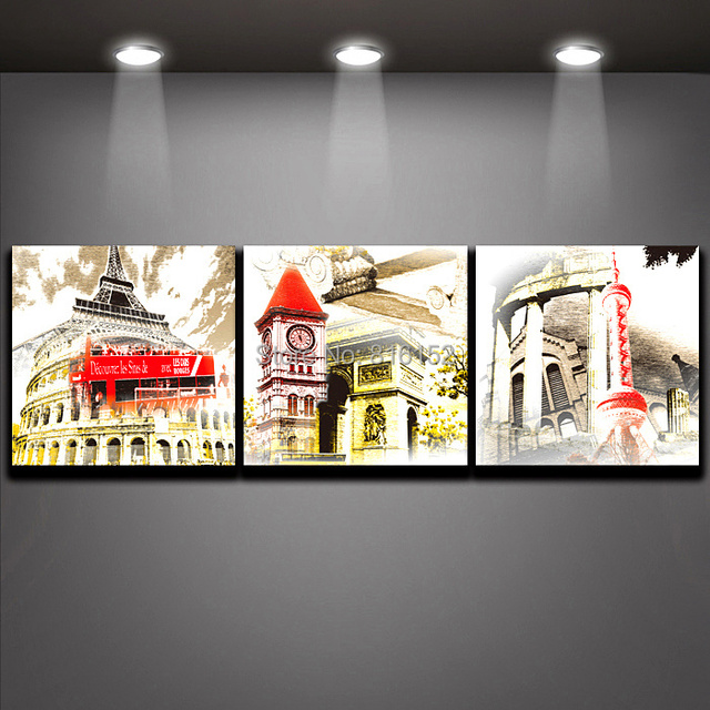 Famous City Symbol Construction Retro Picture On Canvas Printing Oil Painting Wall Art For Living Room