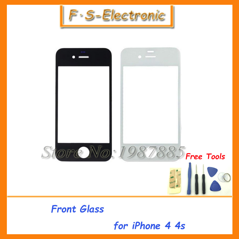 1pcs Best Quality Front Screen Glass Lens Repair Replacement for Apple for iPhone 4 4S Promotion Black/White with Tools