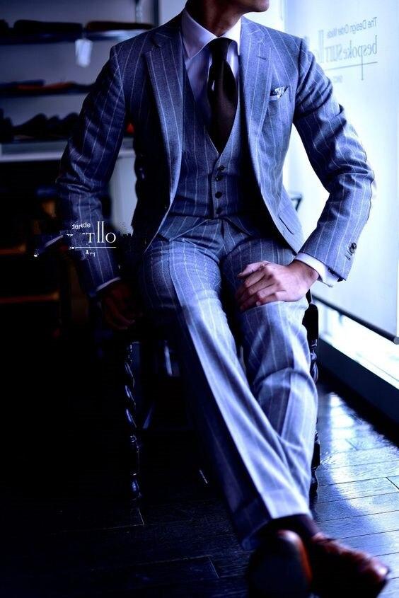 2017 Latest Coat Pant Designs Light Blue Stripe Men Suit Slim Fit 3 Piece Tuxedo Custom Suits Groom Prom Blazer Terno Masuclino