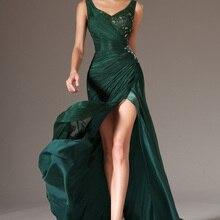 Вечернее платье на бретелях, вечернее платье русалки, новое вечернее платье с v-образным вырезом, Зеленое Шифоновое Вечернее Платье