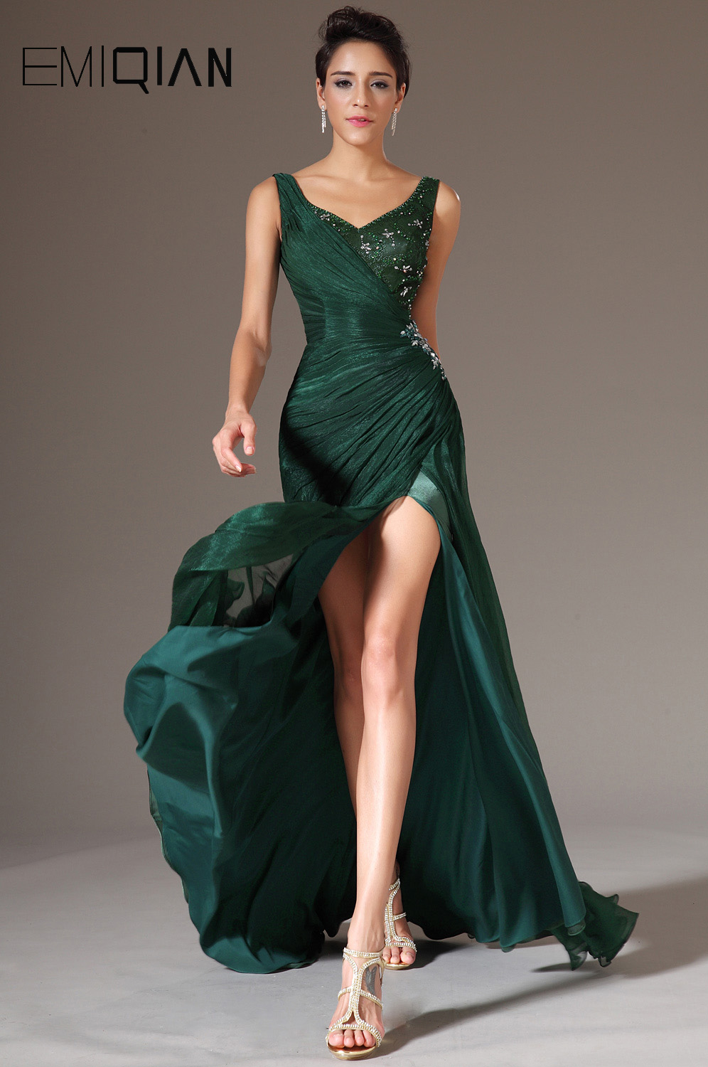 Freeshipping New V Neckline Green Chiffon Full Length Long Formal   Evening     Dress