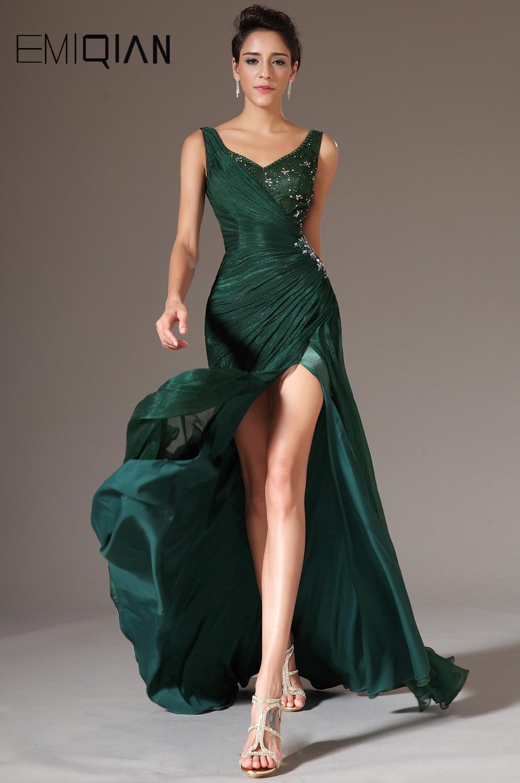 Freeshipping New V Neckline Green Chiffon Full Length Long Formal Evening Dress