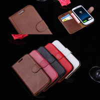 Phone Cases For Samsung Galaxy S3 I9300 Genuine Leather Cases Luxury Business Man Wallet Flip Stand