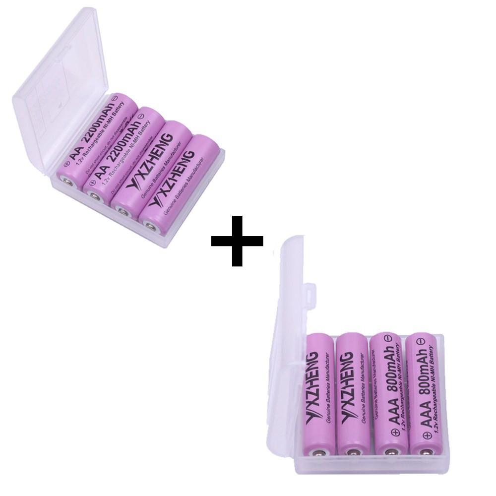 4pcs 1.2v AA 2200mAh + 4pcs 800mAh AAA NI-MH rechargeable battery with stroage case bulk packing for toys