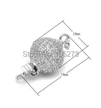 Rond avec fermoir en argent 925 zirconium, 10mm bricolage collier en cristal de perle naturelle de haute qualité, fermoir bracelet. -L56B