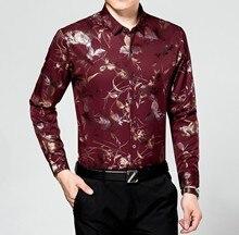 Hot Sale Men's Shirts Men Luxurious Tuxedo Shirt Mens Fashion Printing Casual Shirt Male Long Sleeve Brand Dress Shirts .