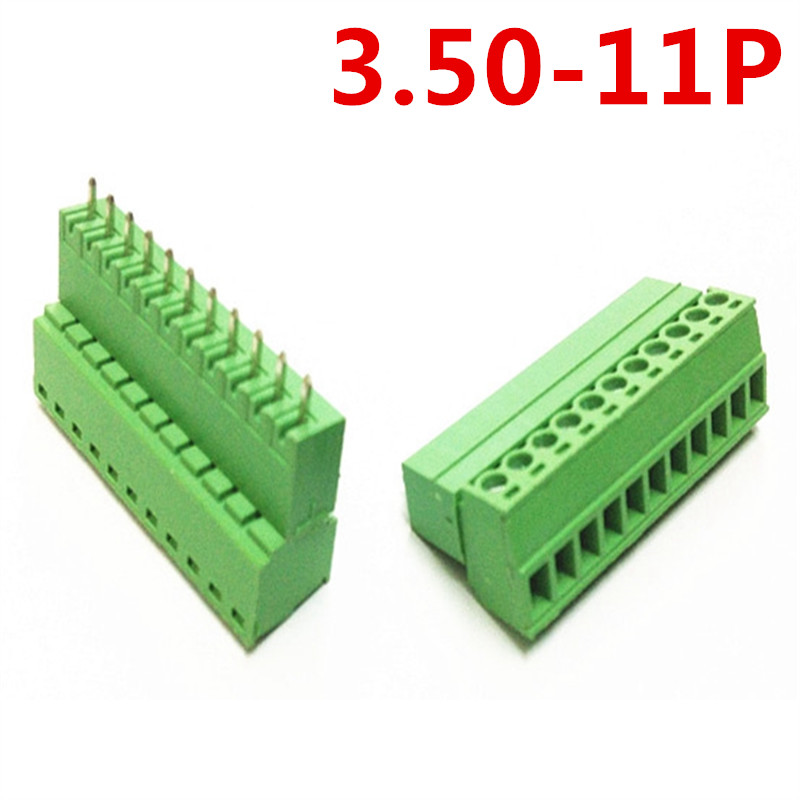 10sets 11 Pin Straight Universal Plug-in 15EDG-3.5mm Pitch 300V 10A Screw Green Terminals Block Connector pin header and socket