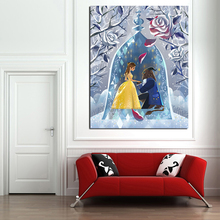Beauty Beast Anime Minimalist Watercolor Art Canvas Poster Oil Painting Wall Picture Print Home Bedroom Decoration Accessories