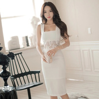 Women Summer Bandage Dresses 2018 Sexy Club White Sheath Lace Patchwork Sleeveless Office Dress Knee Length Celebrity Vestidos