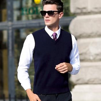 Chaleco de lana pura para Otoño e Invierno para hombre, suéter sin mangas con cuello en v, novedad, moda informal de alta calidad, tallas grandes S M l XL XXL