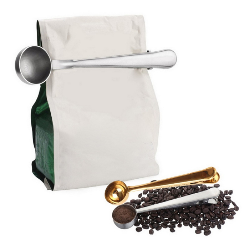 Coffee Scoop With Clip Stainless Steel Tea Coffee Measuring Cup Coffee Scoop Spoon Multifunction Kitchen Supplies