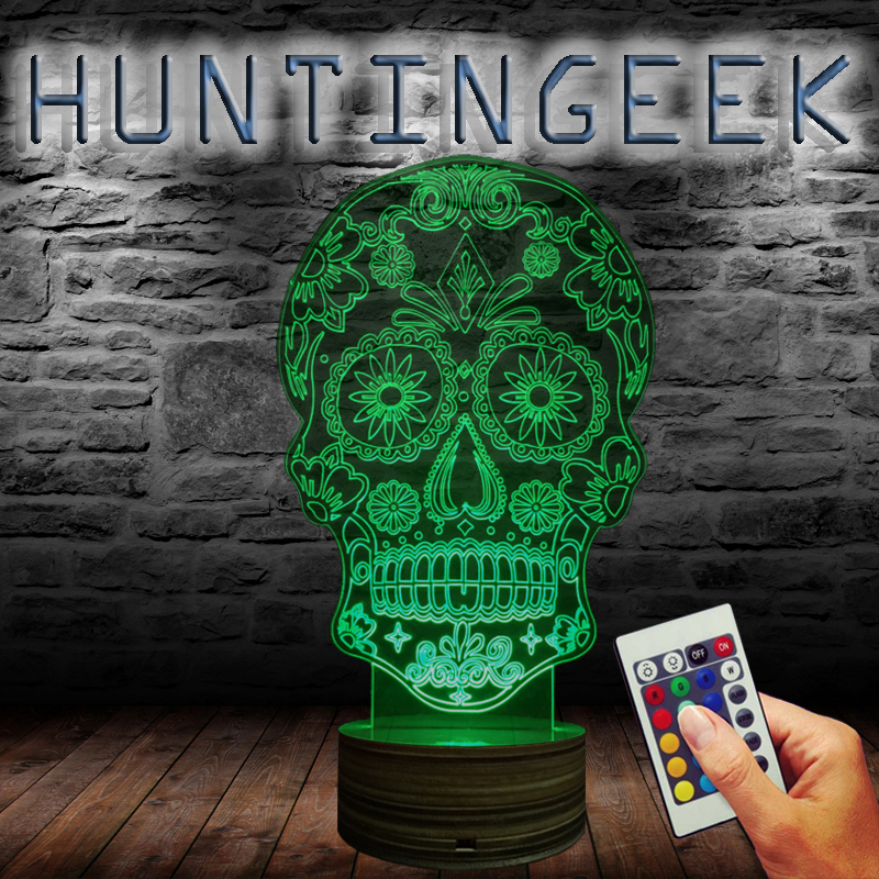 free shipping 1piece halloween decor dead sugar skull usb wood base children night light 3d visual