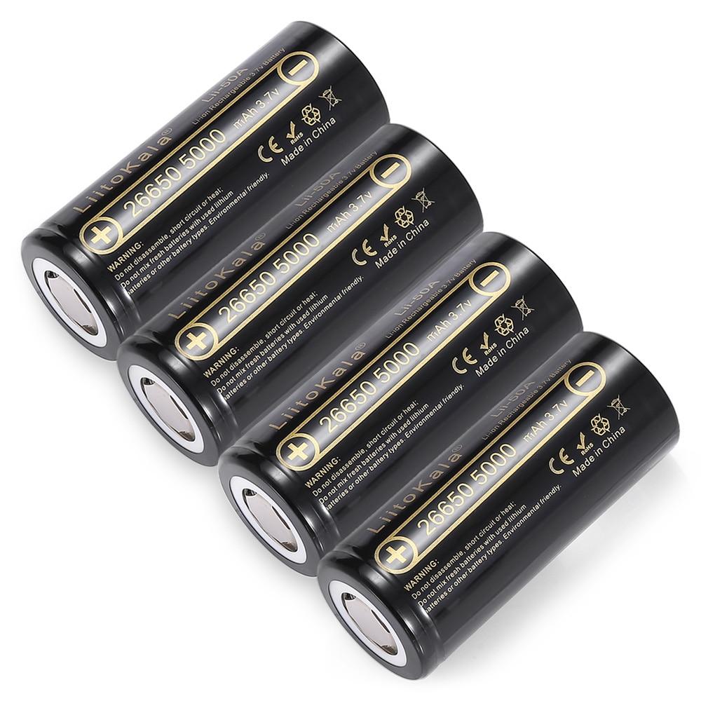HK LiitoKala lii-50A 26650 5000mah lithium battery 3.7V 5000mAh 26650-50A rechargeable battery suitable for flashligh
