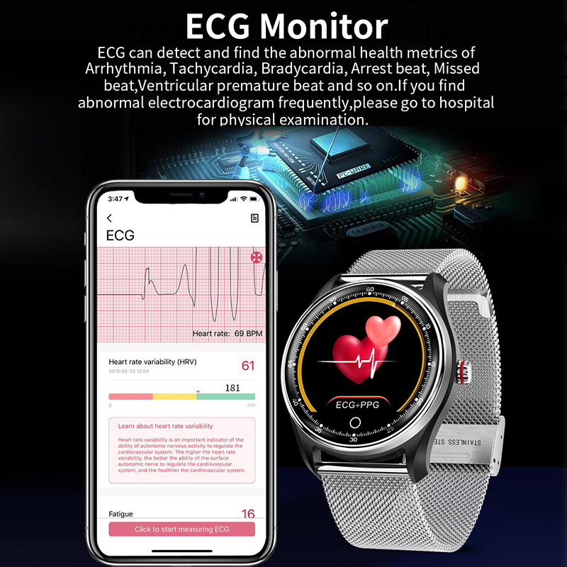 Image 3 - LYKRY MX9 ECG PPG Smart Watch Blood Pressure Heart Rate Monitor Multi languages Life Waterproof Smartwatch For Men Women-in Smart Watches from Consumer Electronics