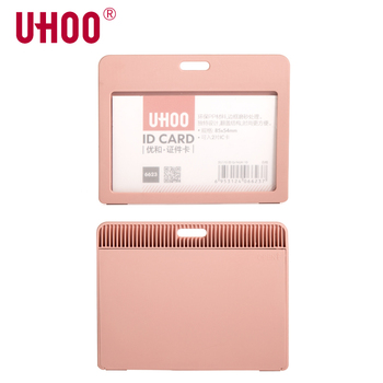 UHOO 6623 Horizontal Name Tag ID Card Holder Waterproof Name Tag Neck Badge Holder for Bus Card School Card ID Card Cover Sleeve