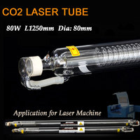 80W Laser Tube CO2 Glass Head Tube D80mm L1250mm Co2 Laser Engraving Cutting Marking Machine Tube