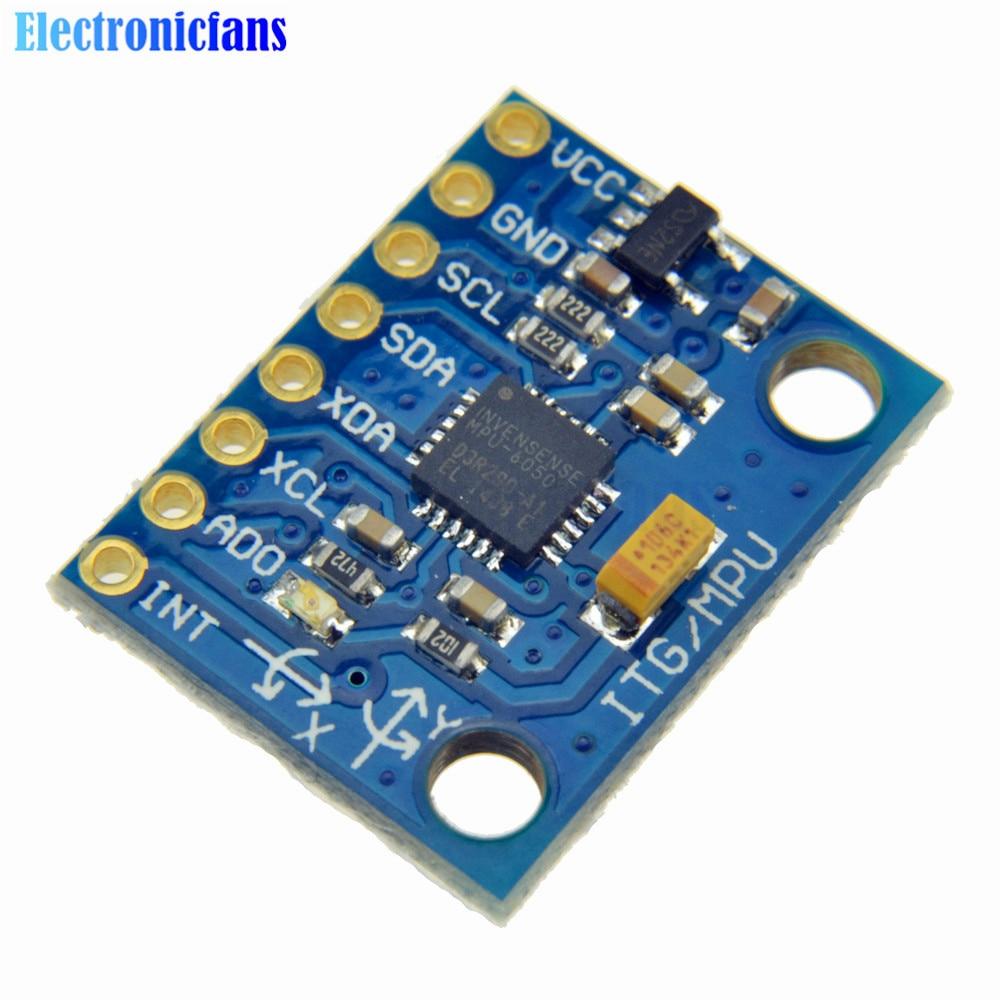 1Set IIC I2C GY-521 MPU-6050 MPU6050 3 Axis Analog Gyroscope Sensors + 3 Axis Accelerometer Module For Arduino With Pins 3-5V DC