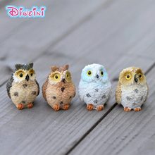 4pcs/set Owls Figures Cartoon Animal model Miniature Figurine Girl Boy toys baby Pet toy home decoration DIY house accessories
